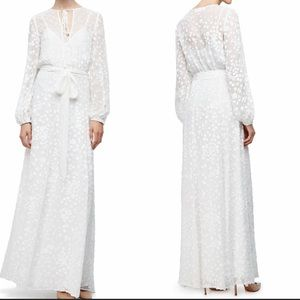 Long-Sleeve Floral-Embroidered Maxi Peasant Dress